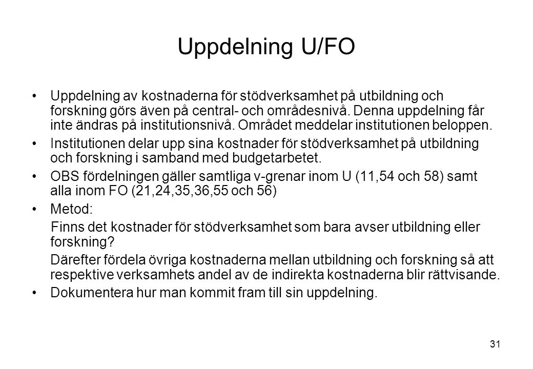 Uppdelning U/FO