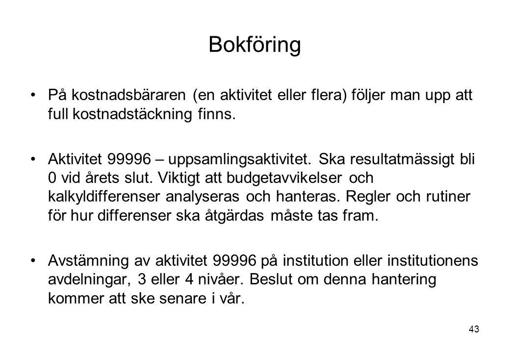 Bokföring På kostnadsbäraren (en aktivitet eller flera) följer man upp att full kostnadstäckning finns.