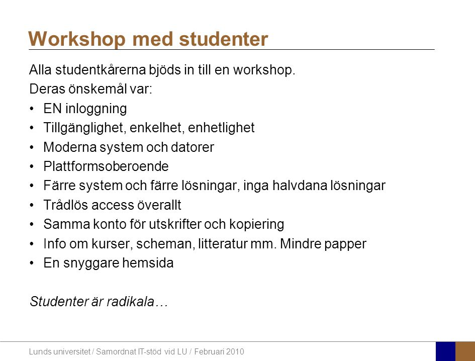 Workshop med studenter