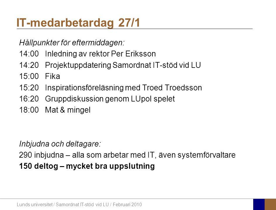 IT-medarbetardag 27/1 Hållpunkter för eftermiddagen: