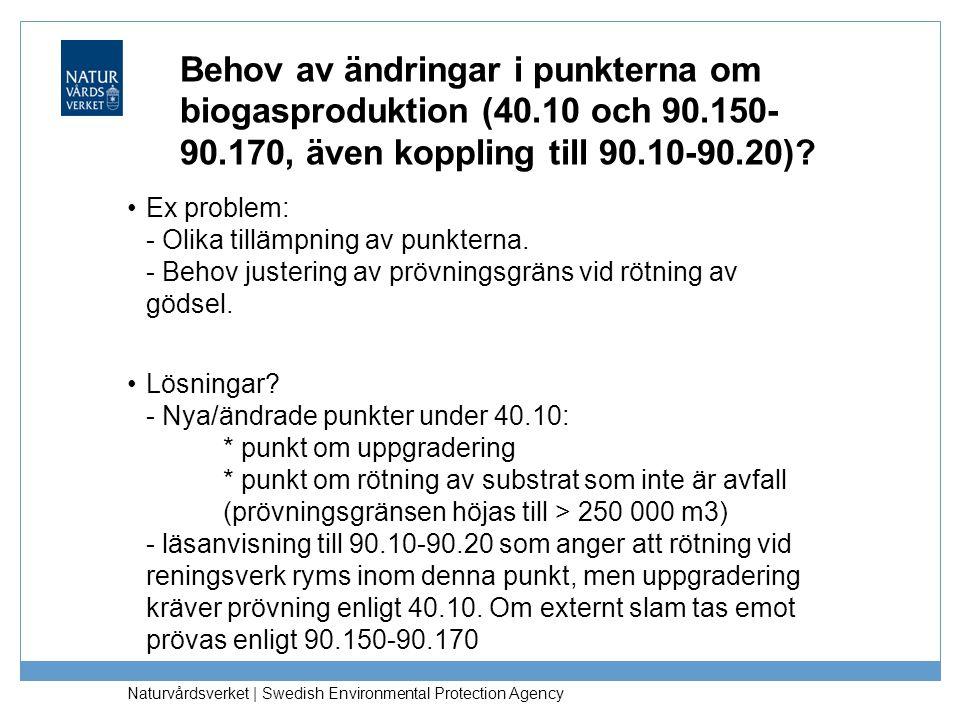 Behov av ändringar i punkterna om biogasproduktion (40. 10 och 90