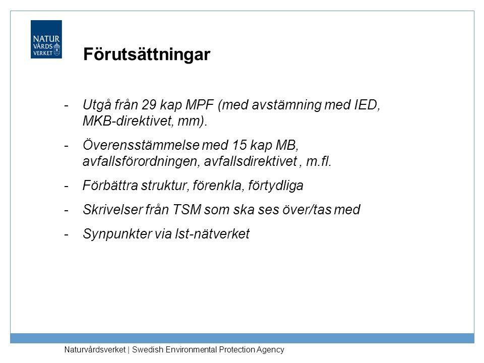 Förutsättningar Utgå från 29 kap MPF (med avstämning med IED, MKB-direktivet, mm).