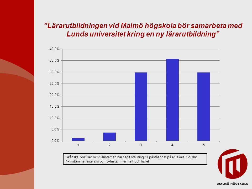 Lärarutbildningen vid Malmö högskola bör samarbeta med Lunds universitet kring en ny lärarutbildning