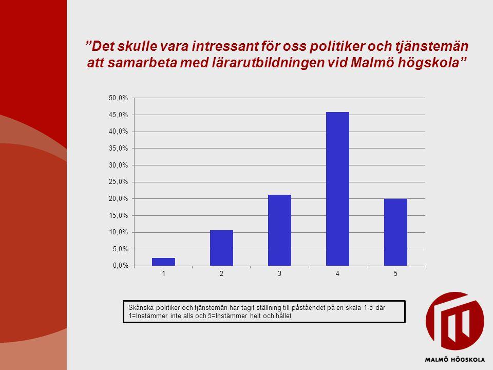 Det skulle vara intressant för oss politiker och tjänstemän att samarbeta med lärarutbildningen vid Malmö högskola