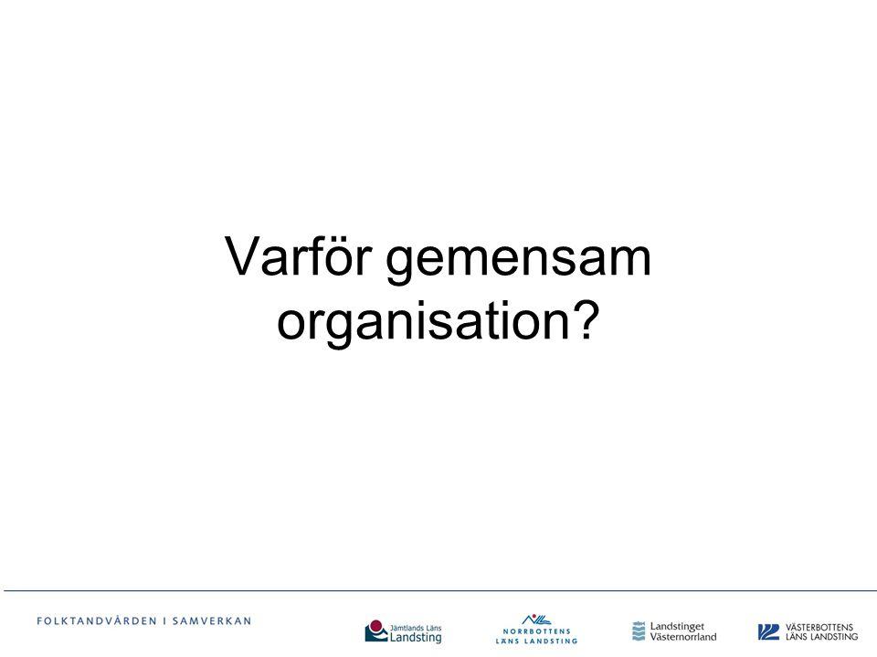 Varför gemensam organisation