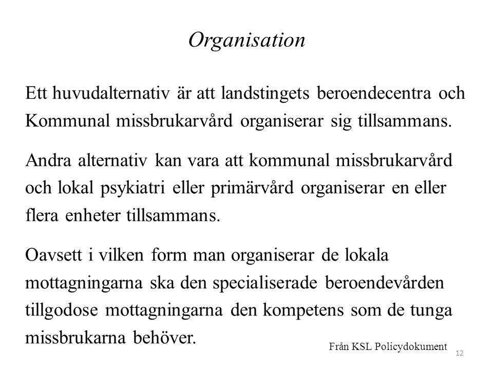 Organisation Ett huvudalternativ är att landstingets beroendecentra och. Kommunal missbrukarvård organiserar sig tillsammans.