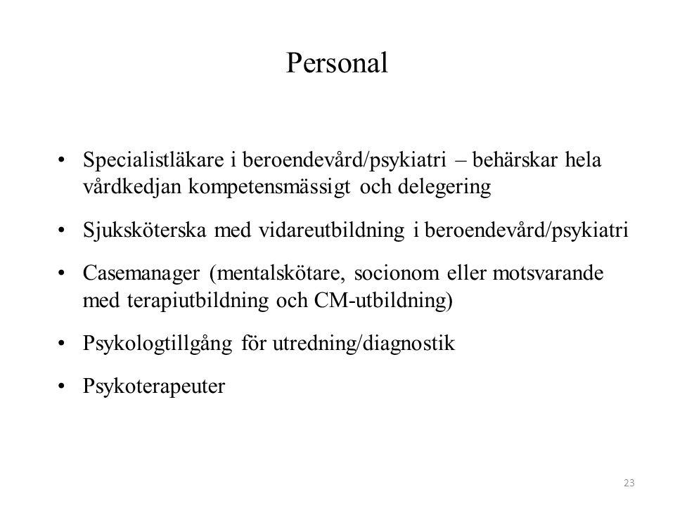 Personal Specialistläkare i beroendevård/psykiatri – behärskar hela vårdkedjan kompetensmässigt och delegering.