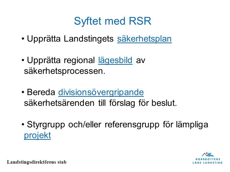 Syftet med RSR Upprätta Landstingets säkerhetsplan
