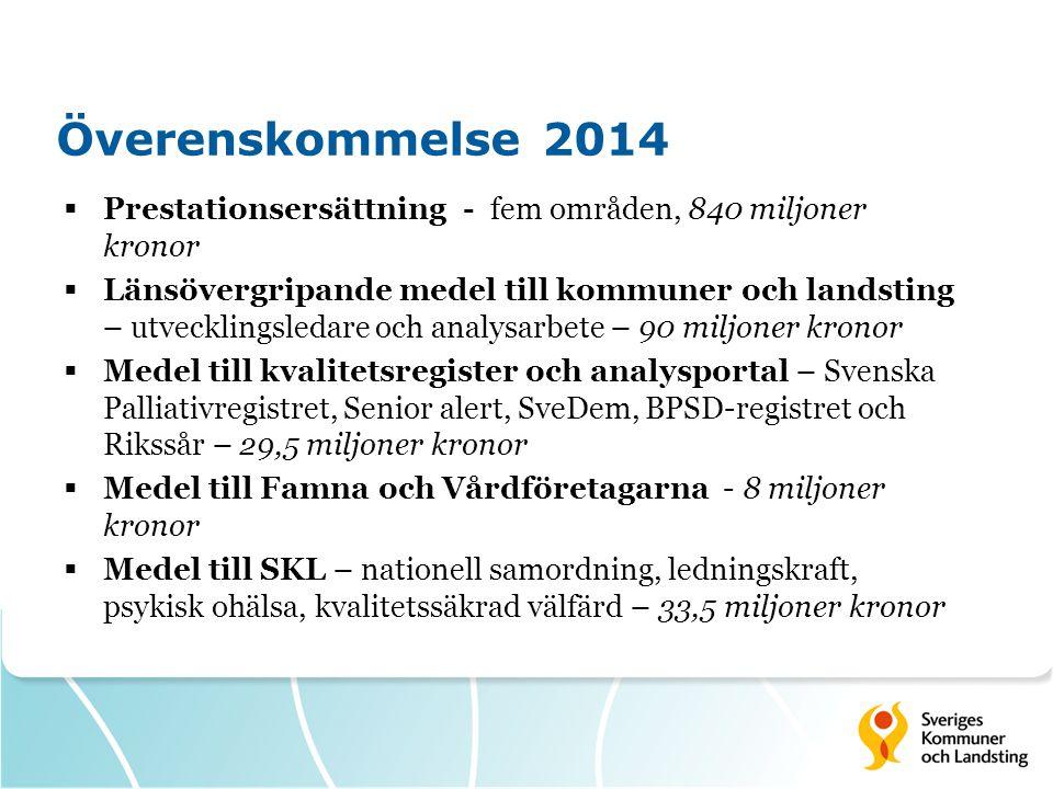 Överenskommelse 2014 Prestationsersättning - fem områden, 840 miljoner kronor.