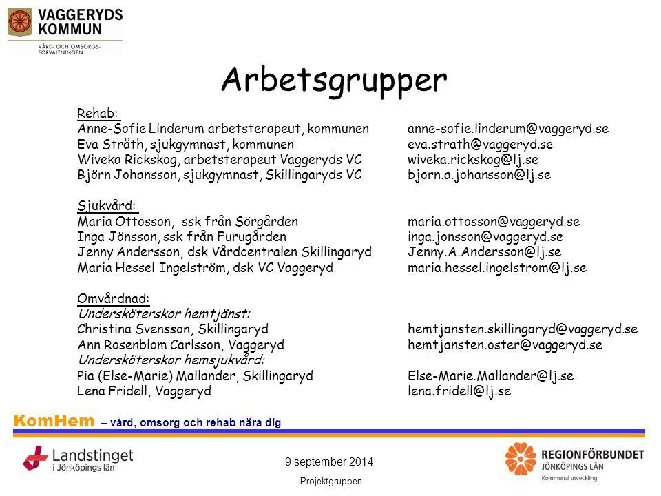 Arbetsgrupper Rehab: Anne-Sofie Linderum arbetsterapeut, kommunen anne-sofie.linderum@vaggeryd.se.