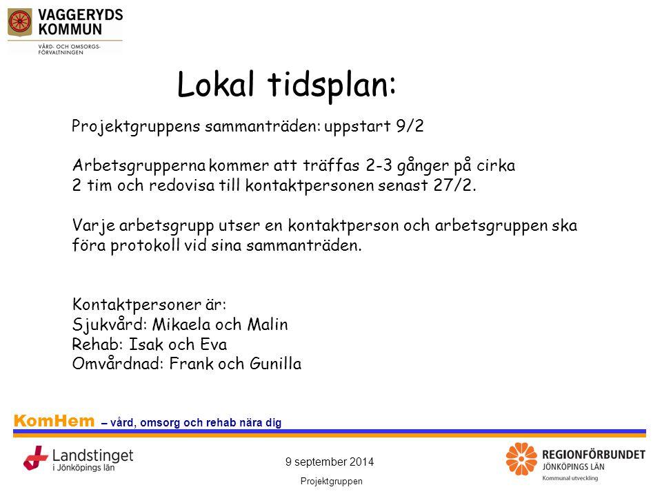 Lokal tidsplan: Projektgruppens sammanträden: uppstart 9/2