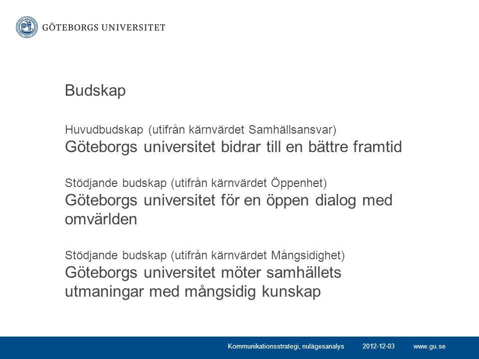 Budskap Huvudbudskap (utifrån kärnvärdet Samhällsansvar) Göteborgs universitet bidrar till en bättre framtid.