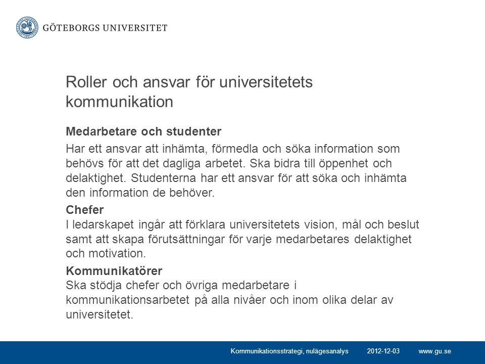 Roller och ansvar för universitetets kommunikation