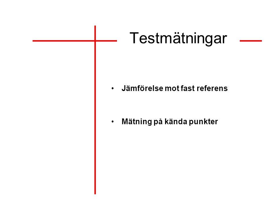 Testmätningar Jämförelse mot fast referens Mätning på kända punkter