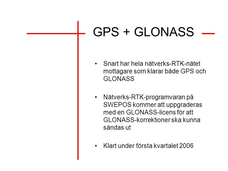 GPS + GLONASS Snart har hela nätverks-RTK-nätet mottagare som klarar både GPS och GLONASS.