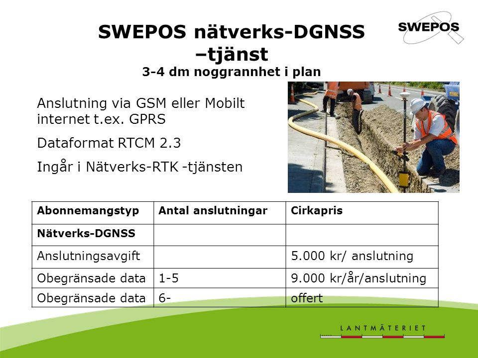 SWEPOS nätverks-DGNSS –tjänst 3-4 dm noggrannhet i plan