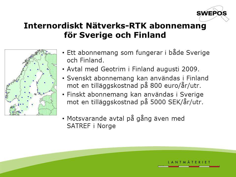 Internordiskt Nätverks-RTK abonnemang för Sverige och Finland