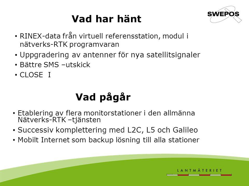 Vad har hänt RINEX-data från virtuell referensstation, modul i nätverks-RTK programvaran. Uppgradering av antenner för nya satellitsignaler.
