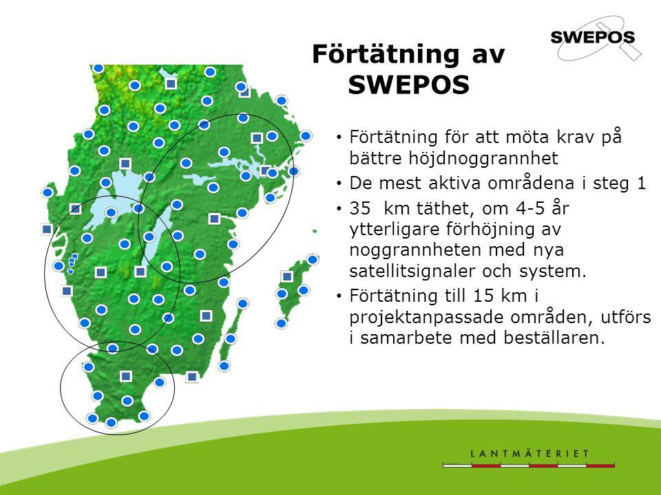 Förtätning av SWEPOS Förtätning för att möta krav på bättre höjdnoggrannhet. De mest aktiva områdena i steg 1.