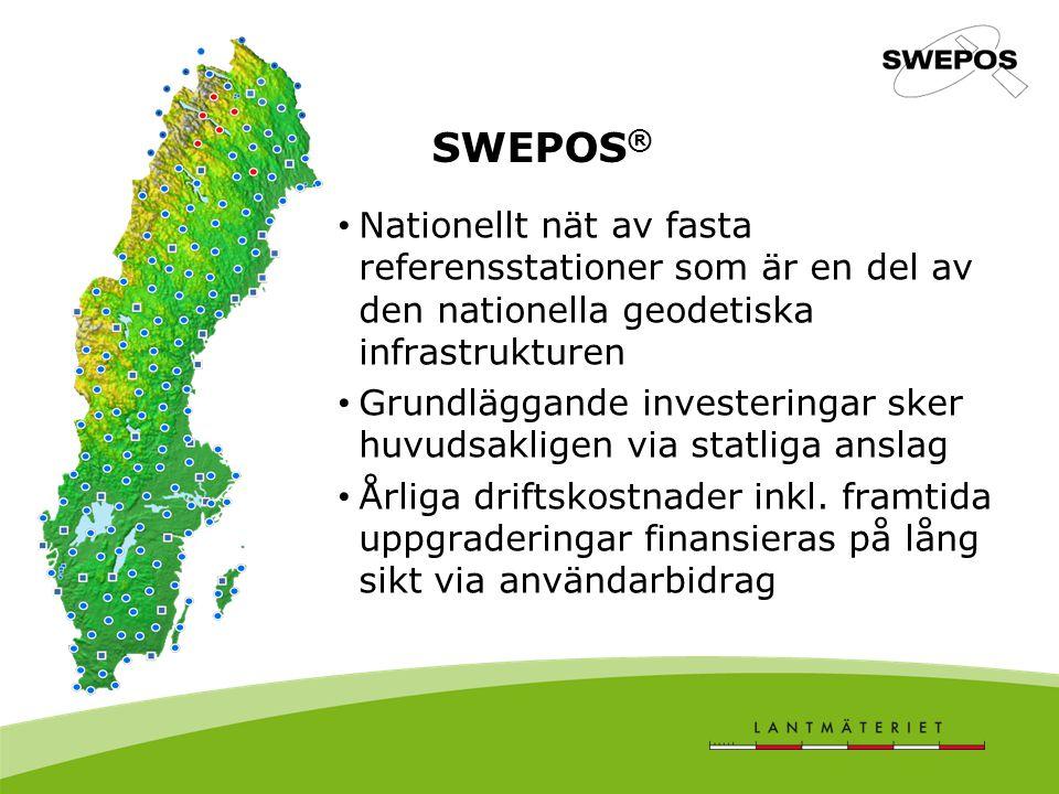 SWEPOS® Nationellt nät av fasta referensstationer som är en del av den nationella geodetiska infrastrukturen.