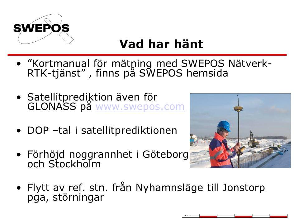 Vad har hänt Kortmanual för mätning med SWEPOS Nätverk-RTK-tjänst , finns på SWEPOS hemsida. Satellitprediktion även för GLONASS på www.swepos.com.