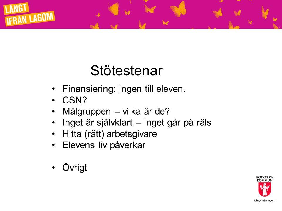 Stötestenar Finansiering: Ingen till eleven. CSN