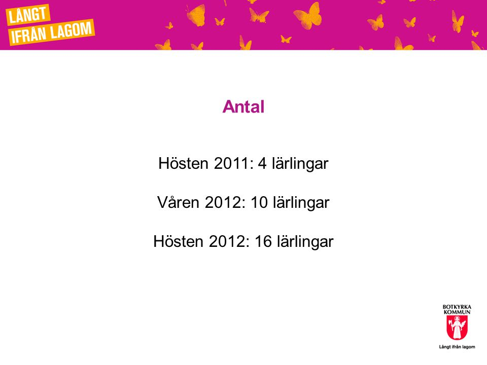 Antal Hösten 2011: 4 lärlingar Våren 2012: 10 lärlingar