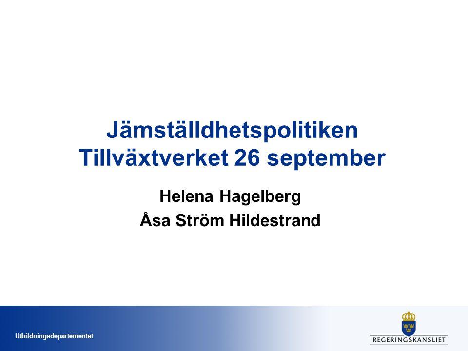 Jämställdhetspolitiken Tillväxtverket 26 september