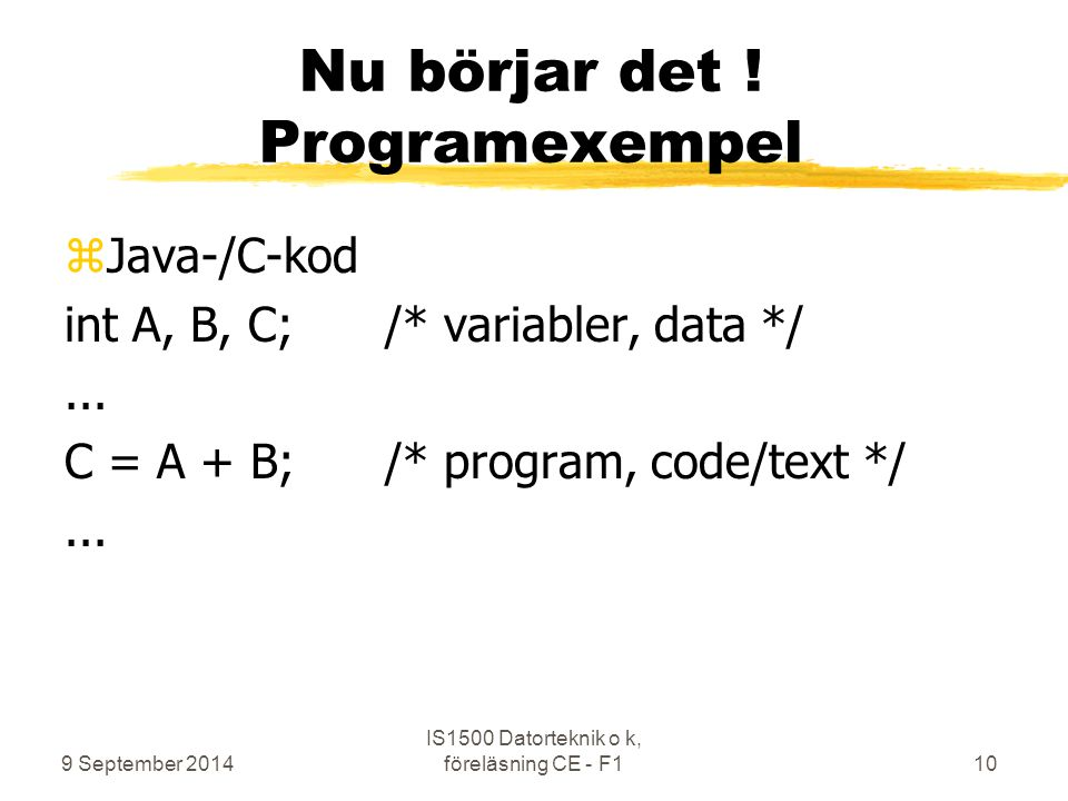 Nu börjar det ! Programexempel