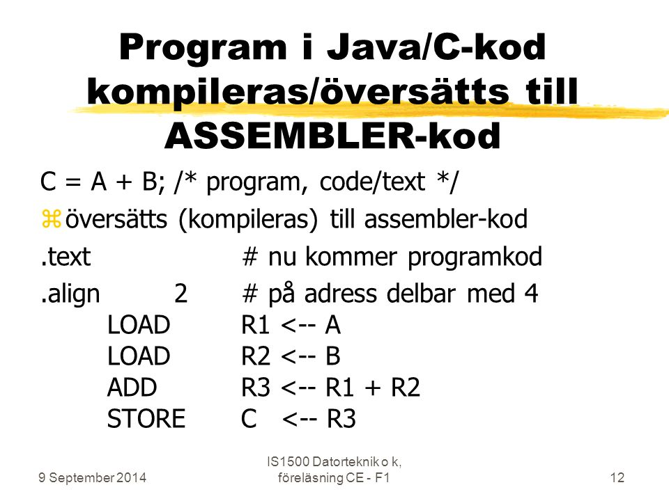 Program i Java/C-kod kompileras/översätts till ASSEMBLER-kod