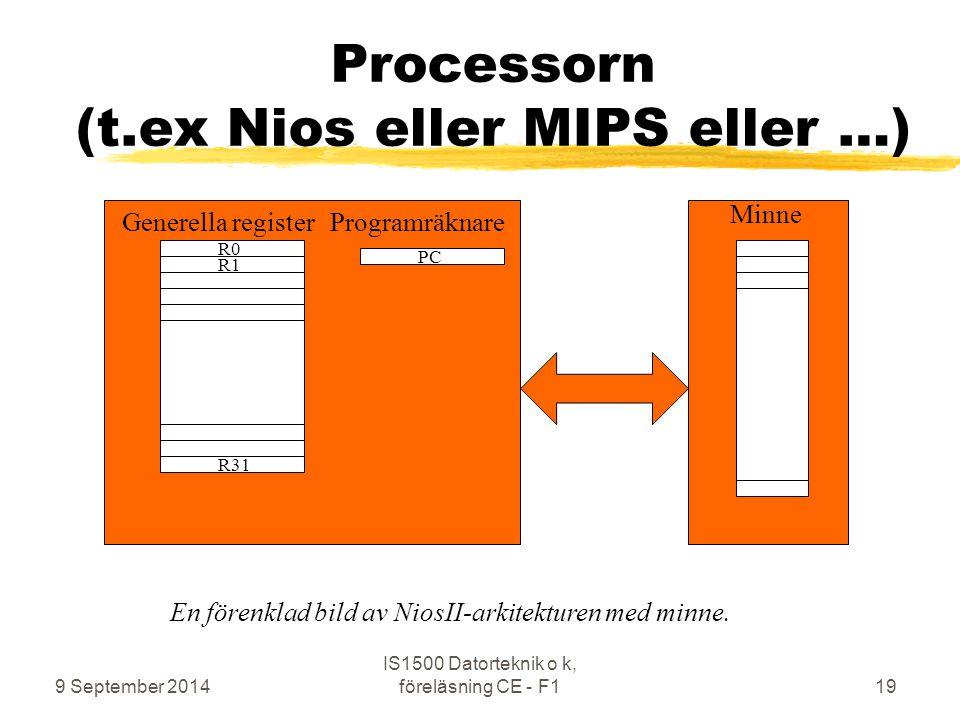 Processorn (t.ex Nios eller MIPS eller …)