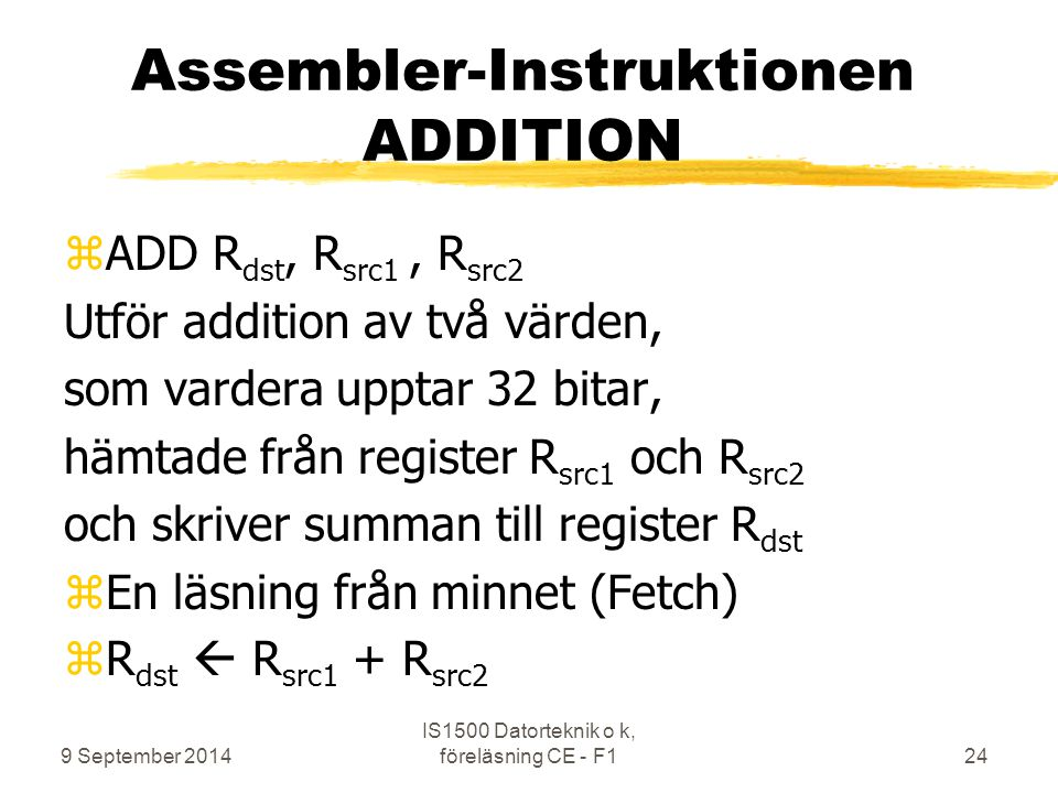 Assembler-Instruktionen ADDITION