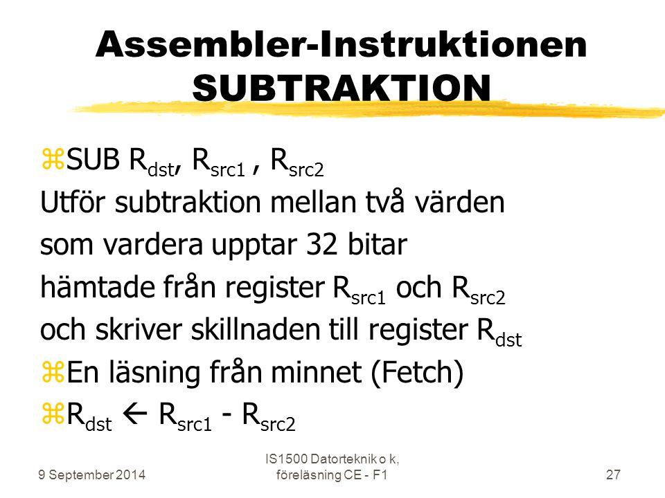 Assembler-Instruktionen SUBTRAKTION