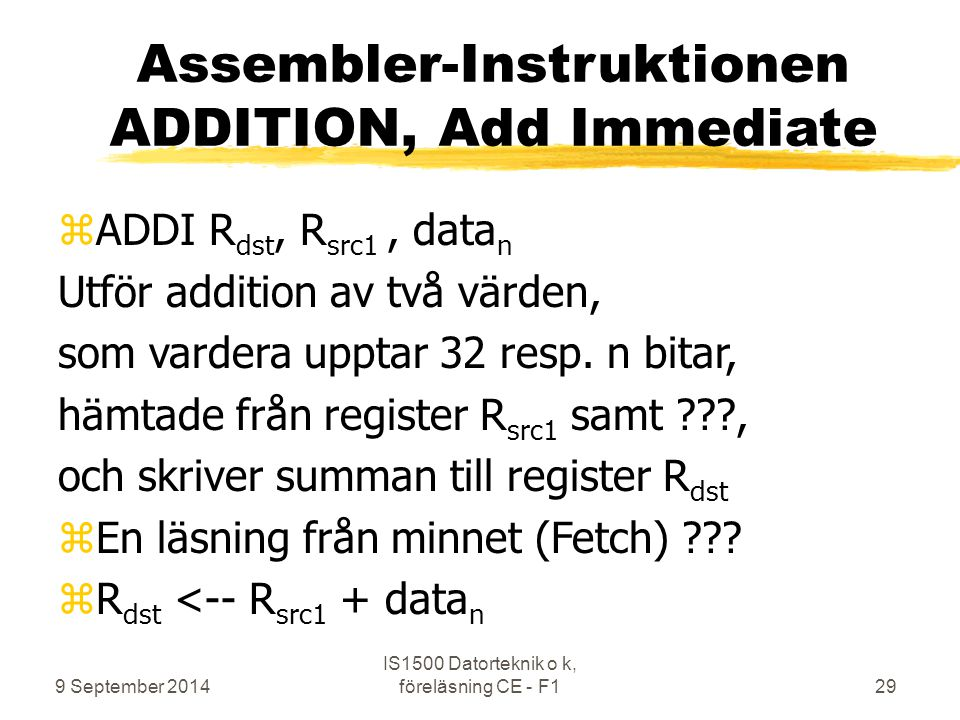 Assembler-Instruktionen ADDITION, Add Immediate