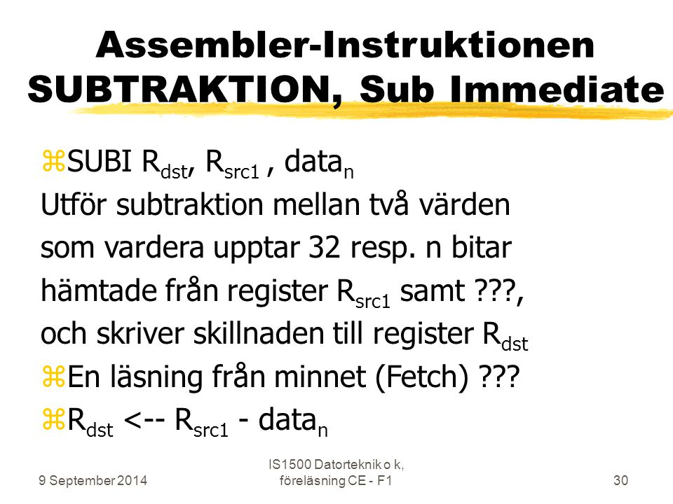 Assembler-Instruktionen SUBTRAKTION, Sub Immediate