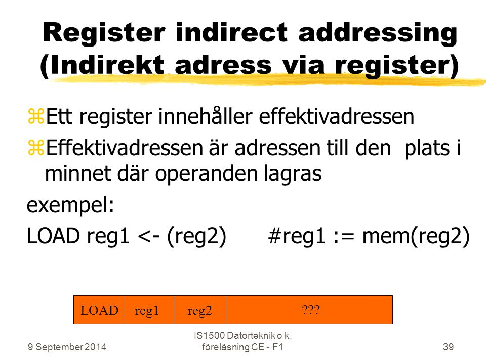 Register indirect addressing (Indirekt adress via register)