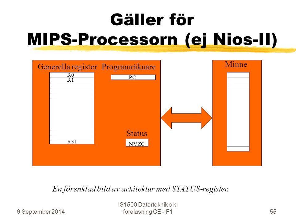 Gäller för MIPS-Processorn (ej Nios-II)