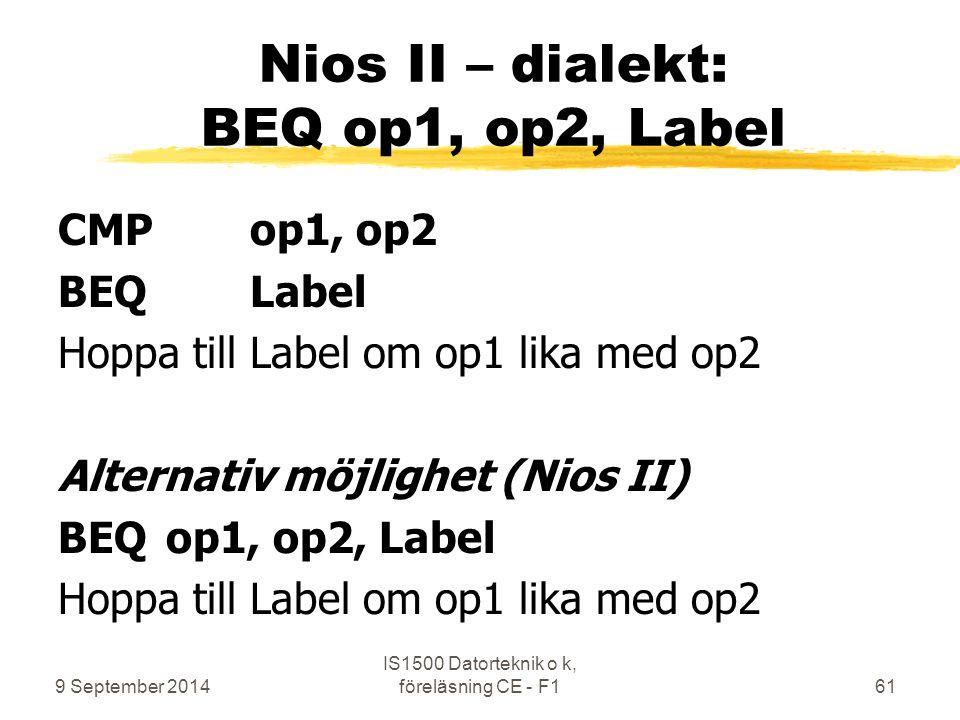 Nios II – dialekt: BEQ op1, op2, Label