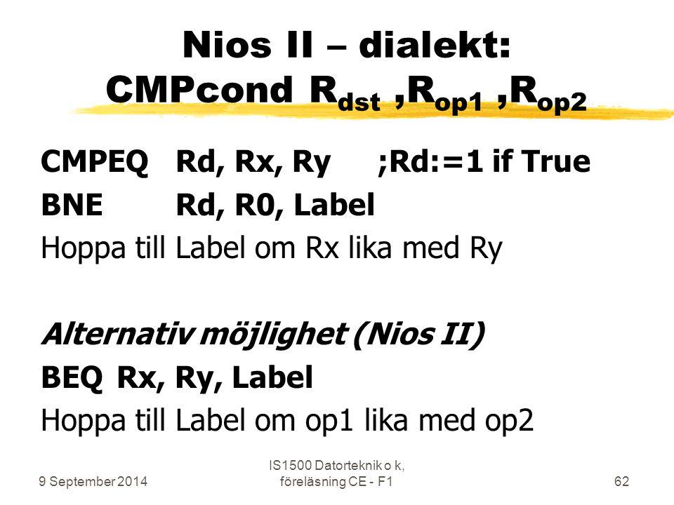 Nios II – dialekt: CMPcond Rdst ,Rop1 ,Rop2