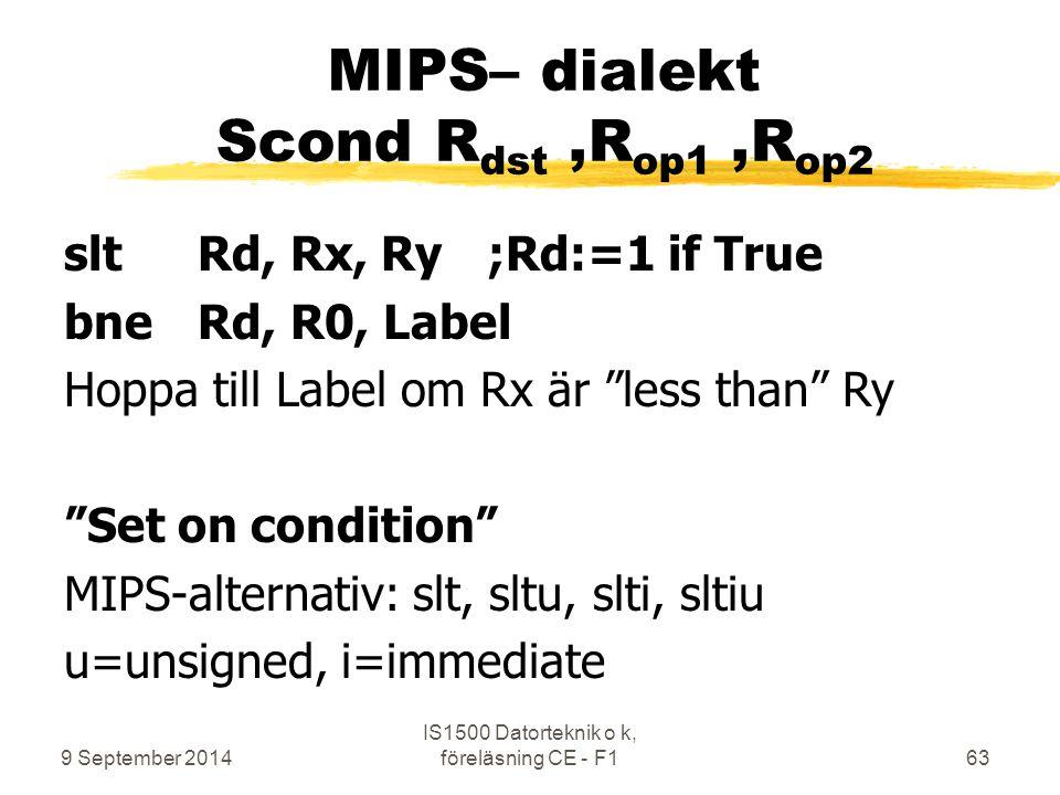 MIPS– dialekt Scond Rdst ,Rop1 ,Rop2