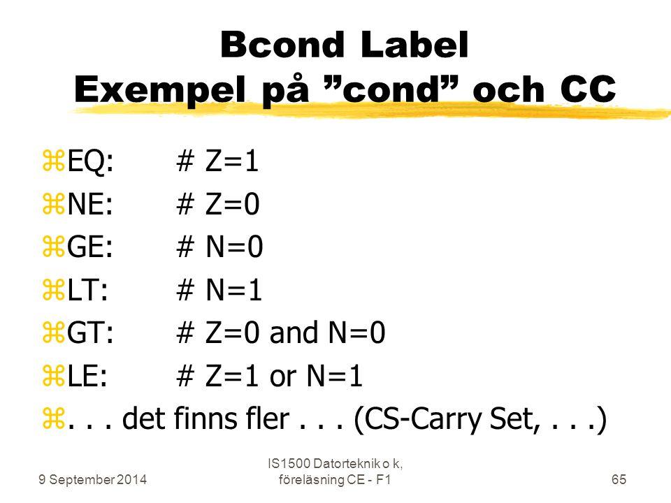 Bcond Label Exempel på cond och CC