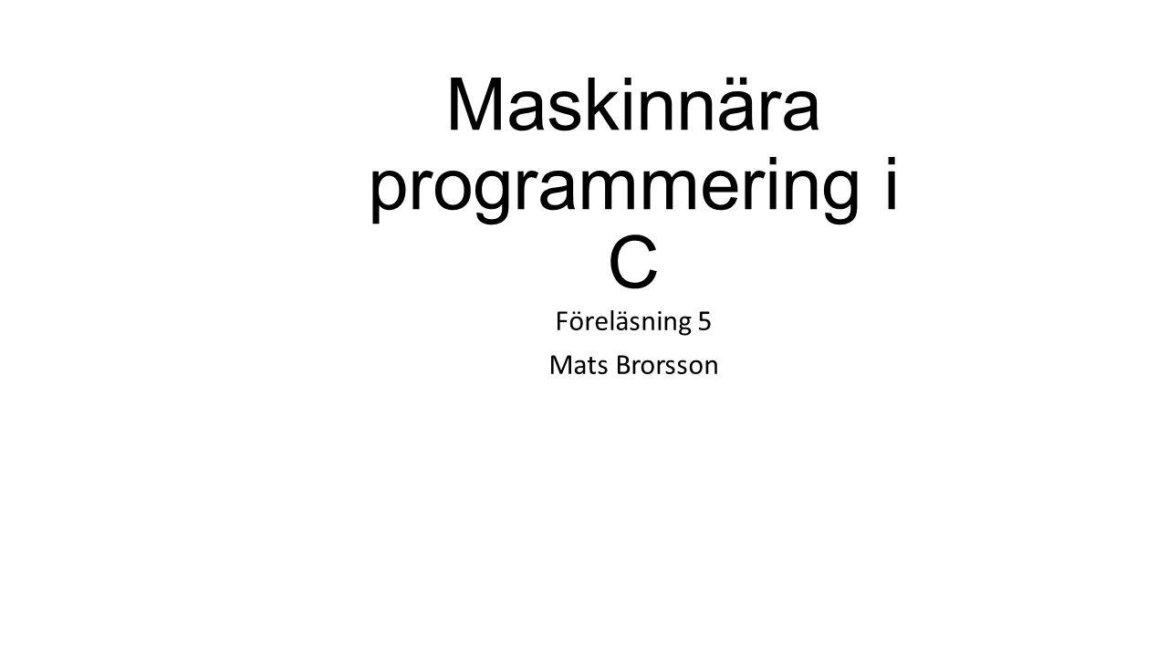 Maskinnära programmering i C