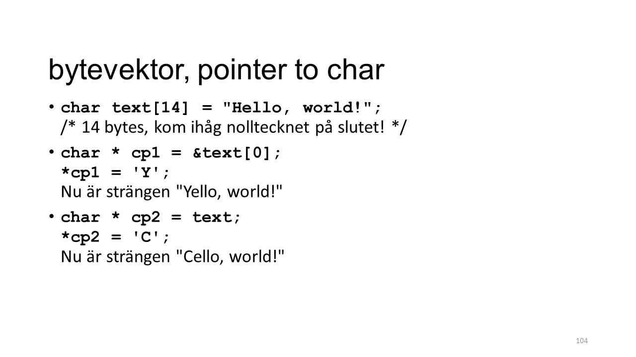 bytevektor, pointer to char