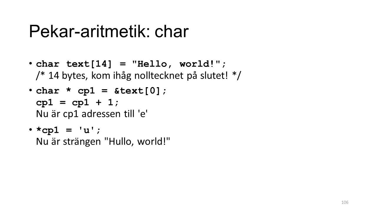 Pekar-aritmetik: char