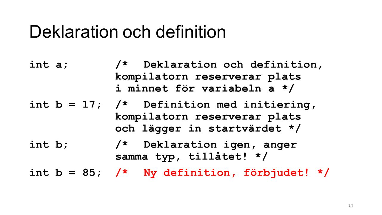 Deklaration och definition