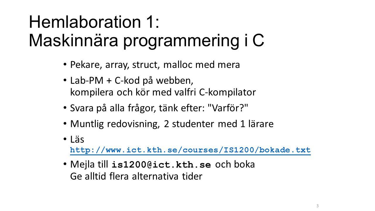 Hemlaboration 1: Maskinnära programmering i C