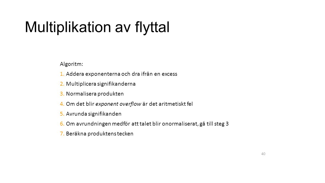 Multiplikation av flyttal