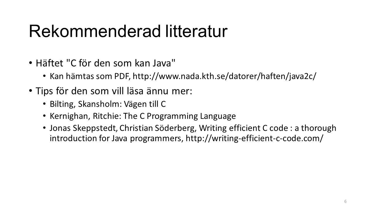 Rekommenderad litteratur