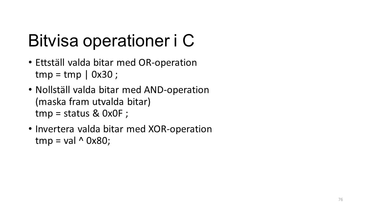 Bitvisa operationer i C