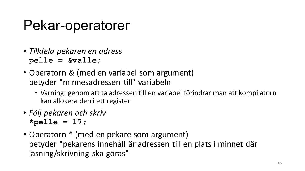 Pekar-operatorer Tilldela pekaren en adress pelle = &valle;
